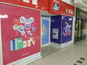 Shopping center window graphics